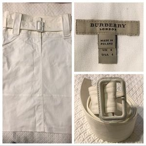 Burberry I White Belted Pencil Skirt 4